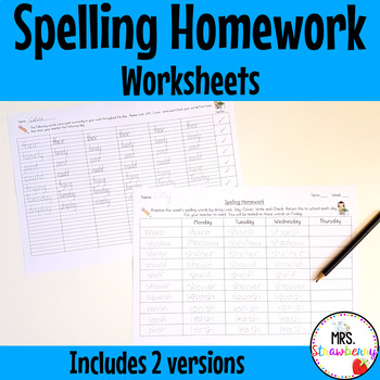 Spelling Homework Sheets