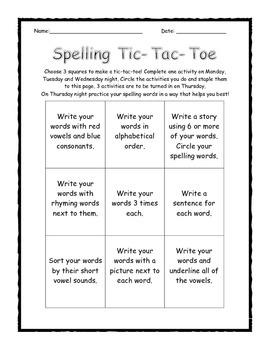 Spelling Homework Tic-Tac-Toe