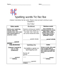 Spelling Homework Tic Tac Toe 2