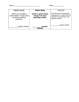 Spelling Homework Tic Tac Toe 3