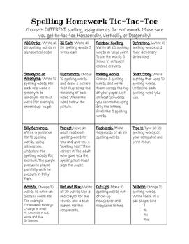 Spelling Homework Tic-Tac-Toe Menu