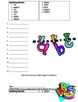 Spelling Homework Week 7 (Abraham Lincoln), Reading Street