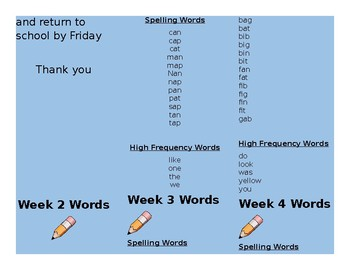 Spelling Homework Word Lists for the ENTIRE YEAR that follow spelling features