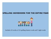 Spelling Homework Word Lists for the ENTIRE YEAR that foll