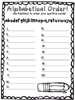 Spelling Homework  Write & Wipe Spelling Words
