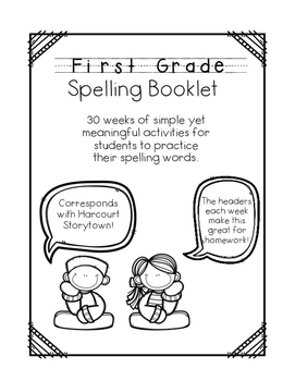 Spelling Homework for First Grade- corresponds with Harcou