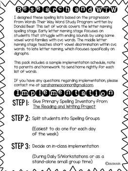 Spelling Homework for the Letter Name Alphabetic Stage