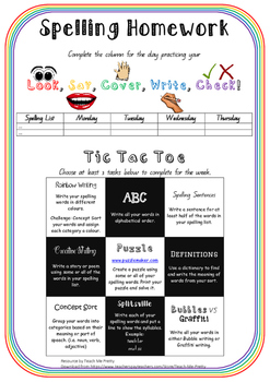 Spelling Homework (hand out, guide, activities)
