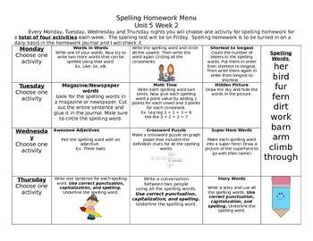 McGraw Hill Wonders Spelling Homework Unit 5