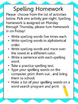 Spelling Homework note and log