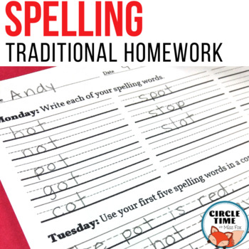 Spelling Homework with Primary Lines - Traditional Spelling and Writing Practice