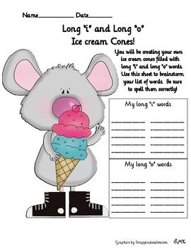 Spelling Ice Cream Cones, Fun Long Vowels Activity