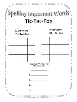 Spelling Important Words Tic-Tac-Toe