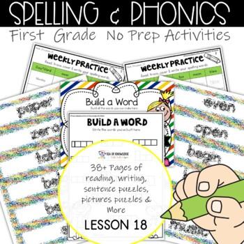 Spelling Interactive Activities Word Work Lesson 18 {Grade 1}