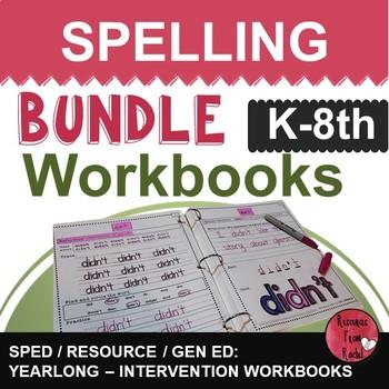 Spelling Intervention Workbook-BUNDLE K-8