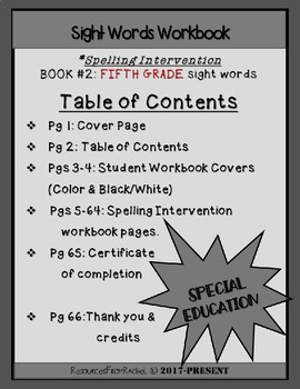 Spelling Intervention Workbook-FIFTH GRADE Sight Words Book 2