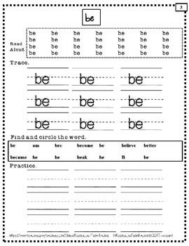Spelling Intervention Workbook-KINDERGARTEN Sight Words Book 1