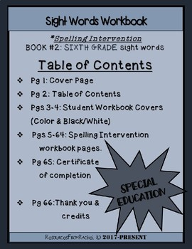 Spelling Intervention Workbook-SIXTH GRADE Sight Words Book 2