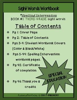 Spelling Intervention Workbook-THIRD GRADE Sight Words Book 1