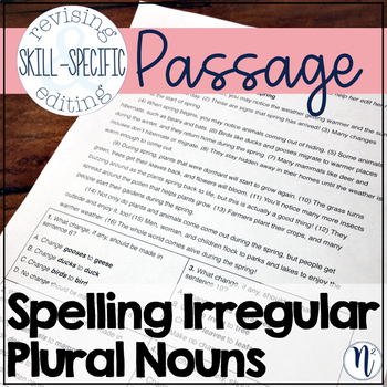 Spelling Irregular Plural Nouns: Skill-Specific Revising and Editing Passage