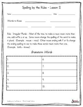 Spelling - Irregular Plurals ex. women, knives - Third Grade