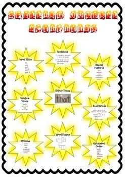 Spelling Journal activities on stars