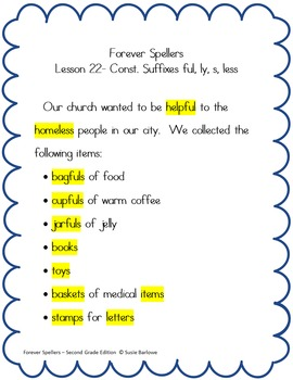 Spelling - Just Add Consonants ful, ly, s, less - 2nd Grade
