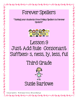 Spelling - Just Add Consonants ful, ly, s, less, ness - 3rd Grade