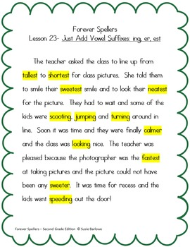Spelling - Just Add Vowel Suffixes - 2nd Grade