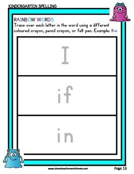 Spelling - Kindergarten - Rainbow Words & Kindergarten Spelling Word List