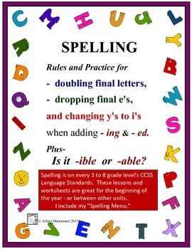 spelling learning center suffixes ed and ing by arlene manemann. Black Bedroom Furniture Sets. Home Design Ideas