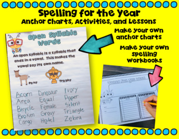 Spelling Lessons, Anchor Charts, and Activities Bundle