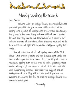 Spelling Letter to Parents