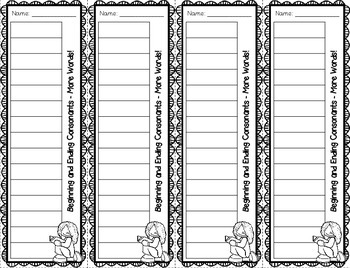 Spelling List **Bookmarks** for Words Their Way ~Primary Inventory~