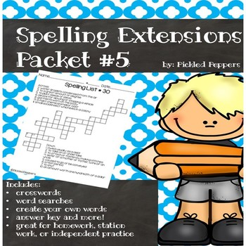 Spelling Lists Extensions #5--3rd Grade--Common Core Standards
