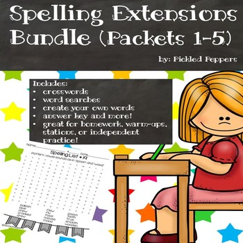 Spelling Lists Extensions Bundle (Packets 1-5)--3rd Grade--Common Core Standards