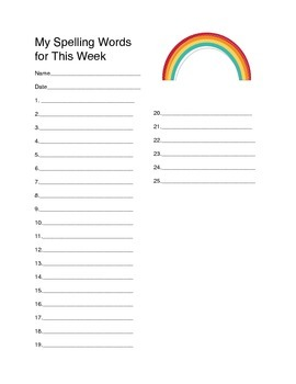 Spelling List Paper