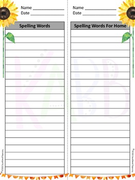 Spelling List Papers Year Long Bundle