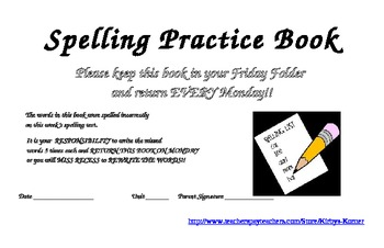 Spelling List Practice Book