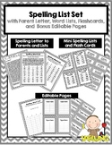 Spelling List Set With Flash Cards and Editable Options