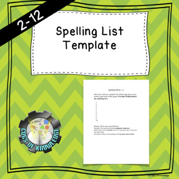 Spelling List Template (EDITABLE)
