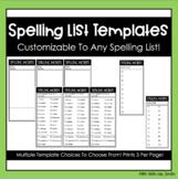 Spelling List Template (Editable)