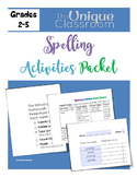 Spelling List Packet with Activities Choice Boards {EDITABLE TEMPLATE}