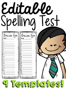 Spelling List Templates