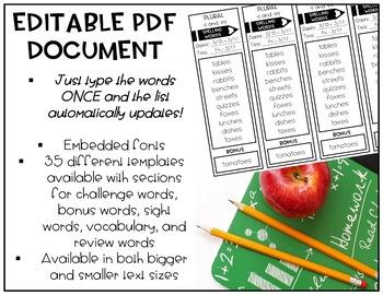 Spelling List Templates | EDITABLE