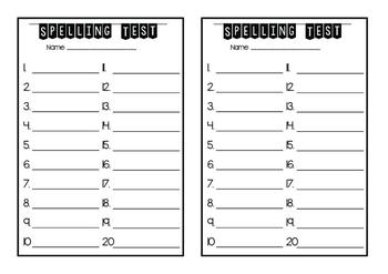 Spelling List Test