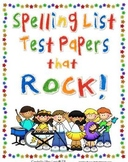 Spelling List Test Papers