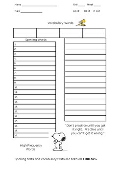 Spelling List, Vocabulary and Reading Blank Template (Peanuts Style)