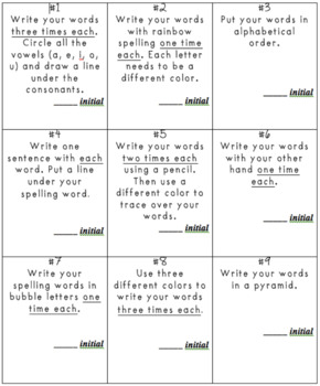 Spelling List and Activity Template Pack (Homework)