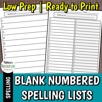 Spelling List and Test Worksheets